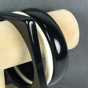 Vintage black white bangle bracelet bundle lot